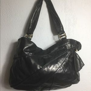 Kooba Leather Hobo Bag - Patch Tie Side - Black